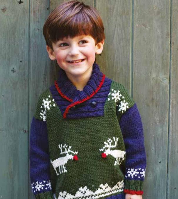 Children's Reindeer Sweater Free Christmas Knitting Pattern