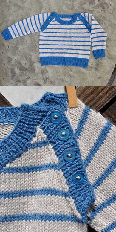 Free Baby Knitting Pattern for a Skipper Sweater. Raglan sweater free pattern for babies and toddlers.