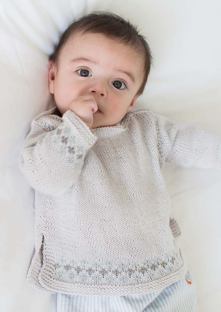 Free Baby Knitting Pattern for a Unisex Boatneck Sweater