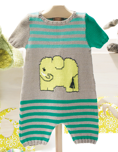 Free Knitting Pattern for Onesie Baby. 3, 6 and 12 months