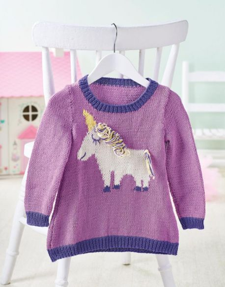 Free Knitting Pattern for a Baby and Children's Unicorn Dress
