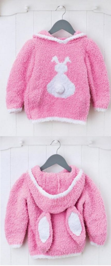 Free Knitting Pattern for a Fluffy Bunny Jumper for Kids with a Hood- Great for Easter