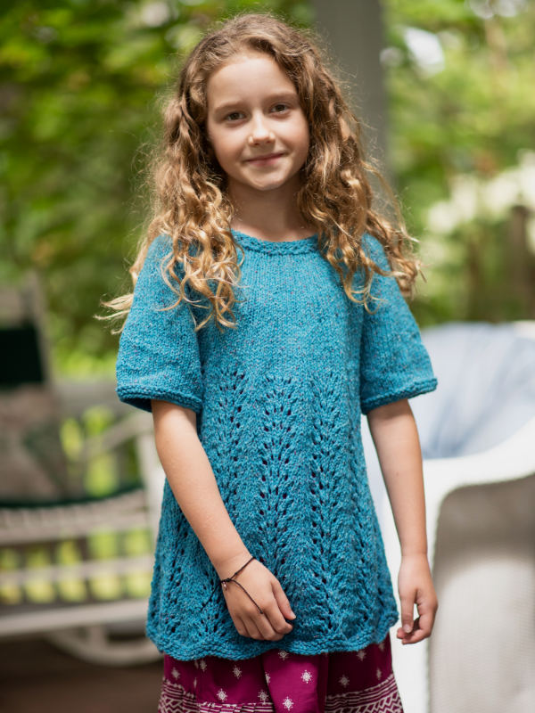 Free Knitting Pattern for a Four Row Lace Repeat Girl's Dress