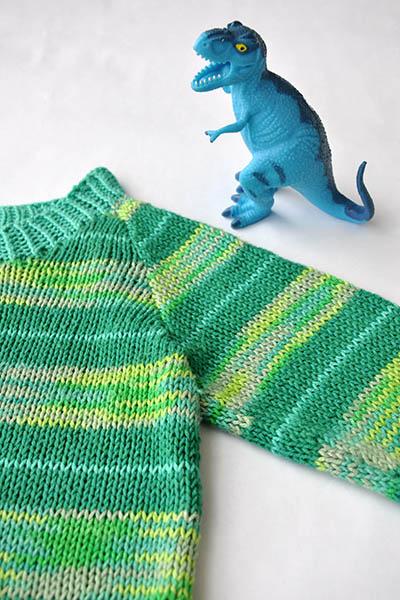 Free Knitting Patterns fir a Baby and Kids Sweater Stripe-o-saurus
