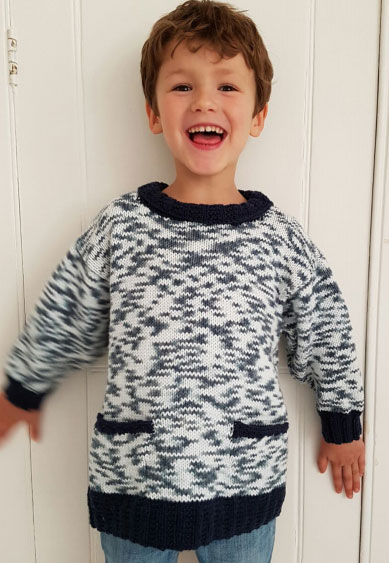 Kids Sweater with Contrast Edgings Free Knitting Pattern