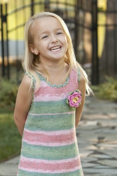 Free Knitting Pattern for a Girl's Picot Sundress