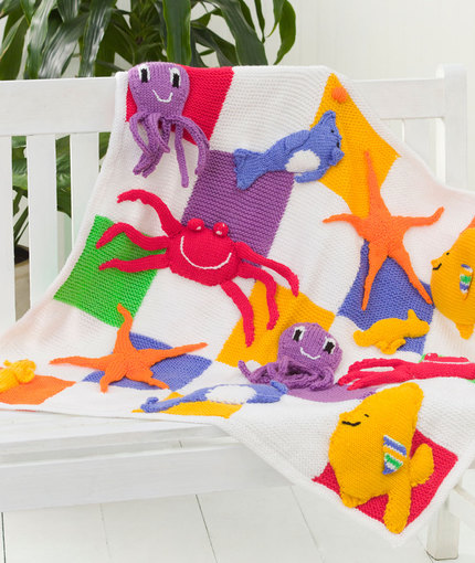 Sea Creatures Throw Free Knit Pattern