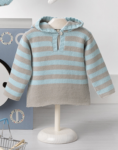 Striped Cotton Hoodie for Baby Free Knitting Pattern